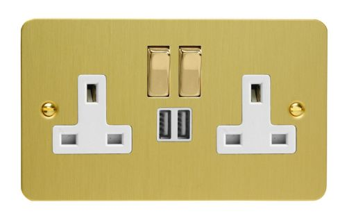 Varilight XFB5U2SDW Ultraflat Brushed Brass 2 Gang Double 13A Switched Plug Socket 2.1A USB